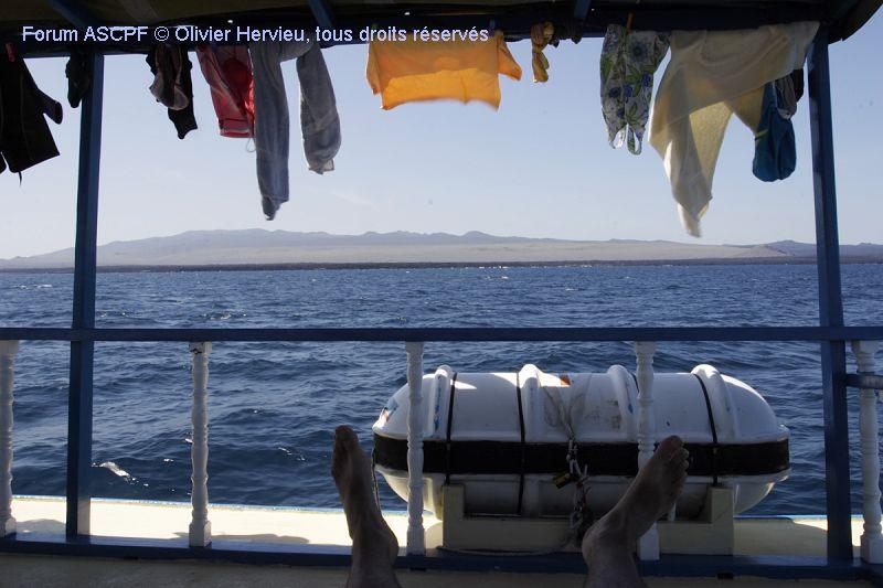 pour faire la sieste en plein air à admirer les côte de l'île Santiago (à l'ombre du linge en train de sécher)
